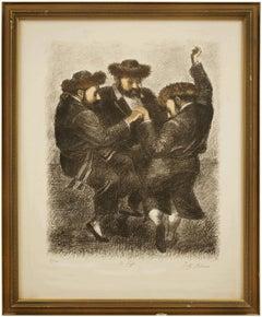 "Hasidic Dance ""To Life"" L'Chaim Judaica Lithograph"