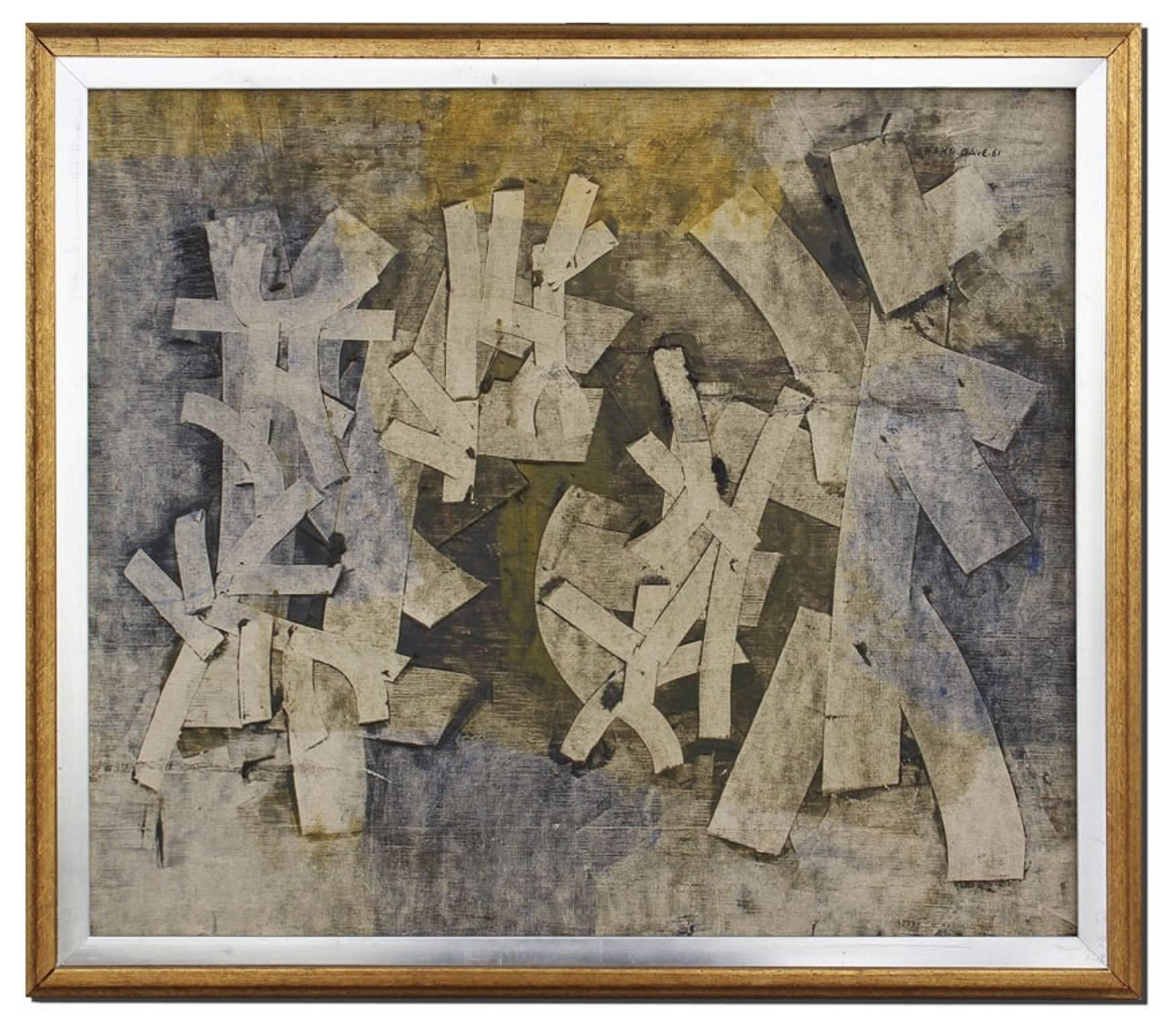 Untitled Abstract Composition Painting with Collage