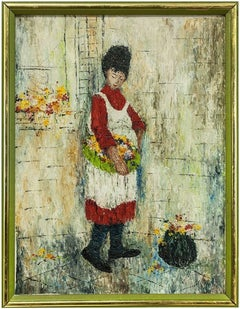 Woman in Apron with Basket of Flowers, Oil Painting