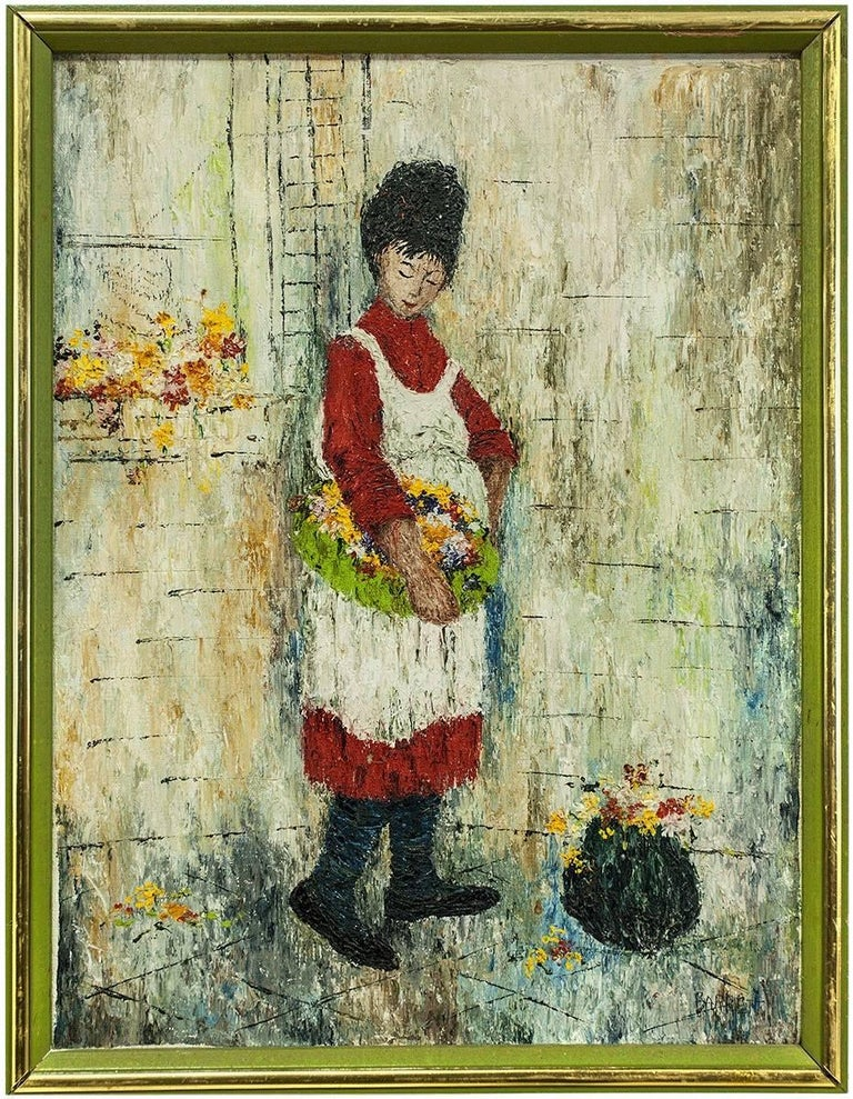 Mildred Barrett Figurative Painting - Woman in Apron with Basket of Flowers, Oil Painting