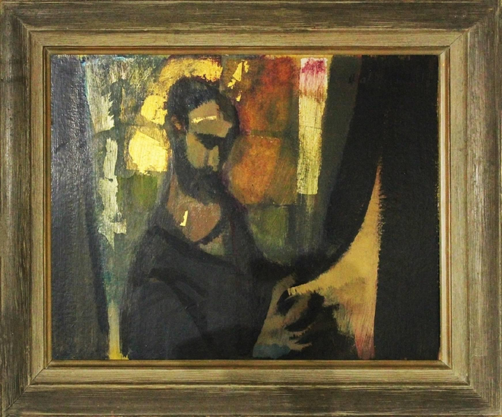 Figure, Oil and Gold Leaf Expressionist Painting
