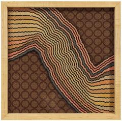 Untitled Mod Op Art 1967 Painting on Silk
