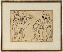 Biblical Scene, (2 Jewish Men) 1930s Modernist Ink Drawing