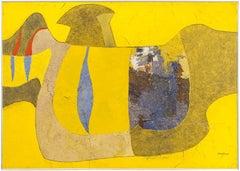 PAJARO AMARILLO, The Yellow Bird. Latin American Mixed Media Painting