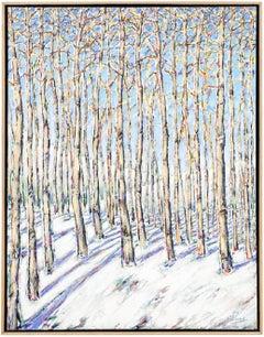 Aspen Grove, Large Scale Beautiful Landscape Snow Scene