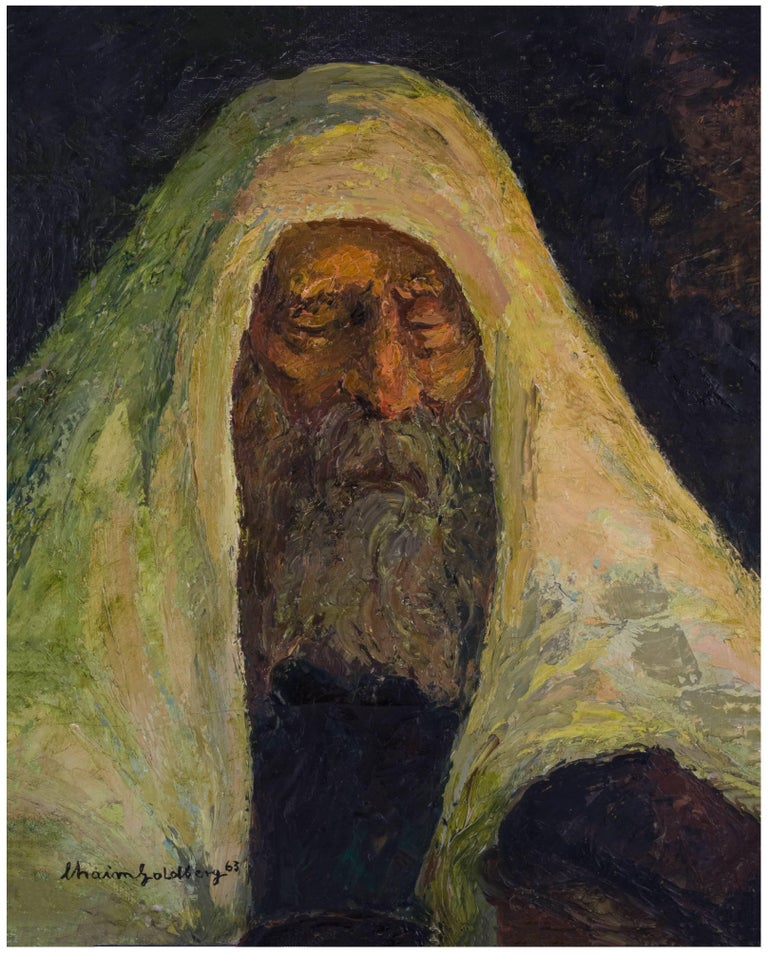 Chaïm Goldberg Figurative Painting - Judaica Oil Painting Hasidic Meditation In Prayer