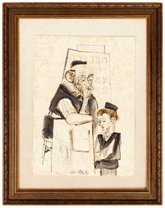 Judaica Painting Bar Mitzvah Boy, Cheder Lessons