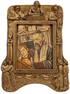Vintage Judaica Ivorine Carving Shtetl Bar Mitzvah Lesson