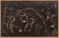 Ritmo Negro, 1945 Brazilian Master, Art Deco Nudes Serigraph