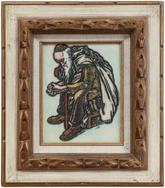 """Judaica Carving, """"Meditation"""" Rabbi in Prayer"""