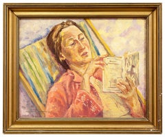 Portrait of Margarete Reading a Book in a Striped Lawnchair