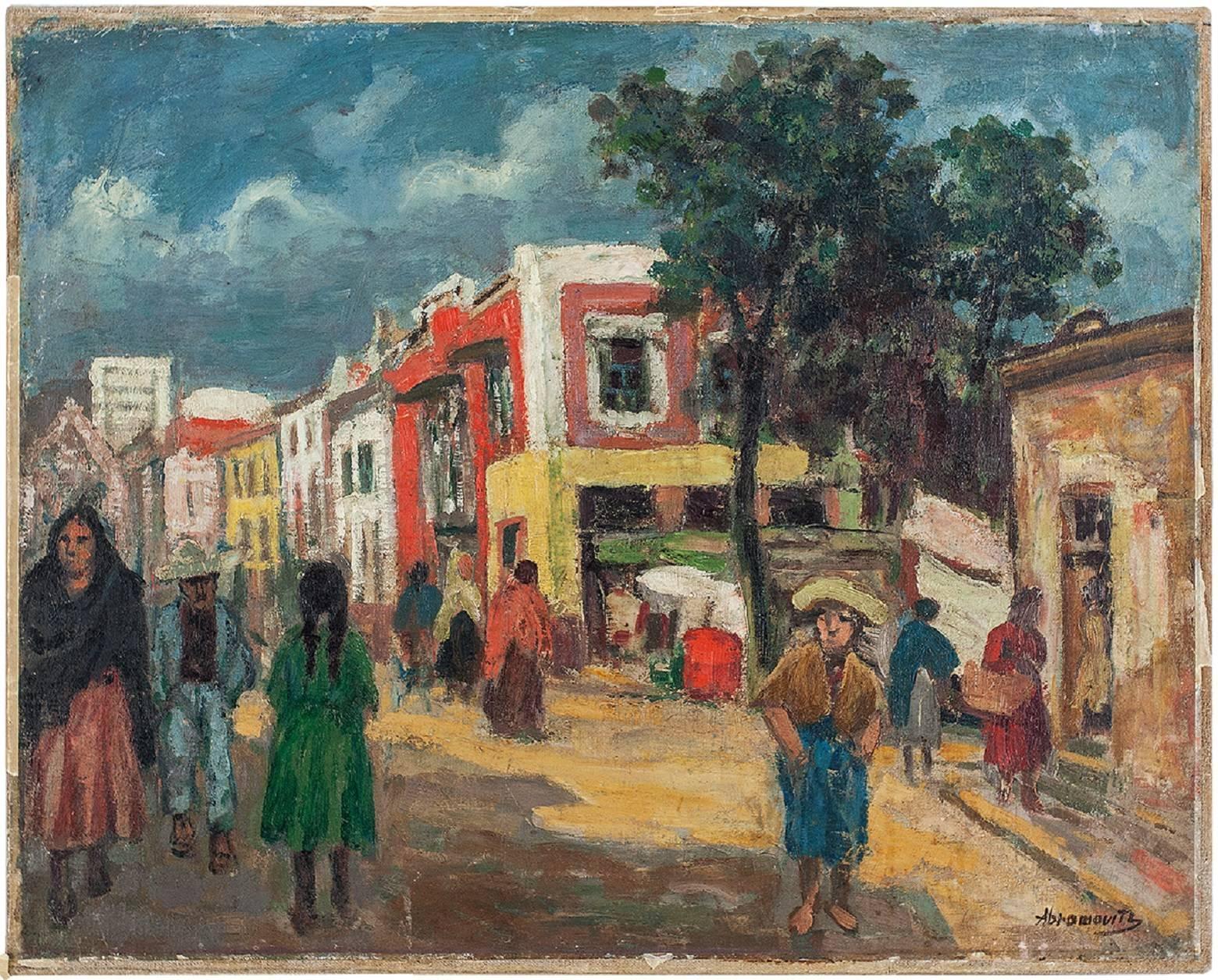 Street Scene Oil Painting Circa 1930s