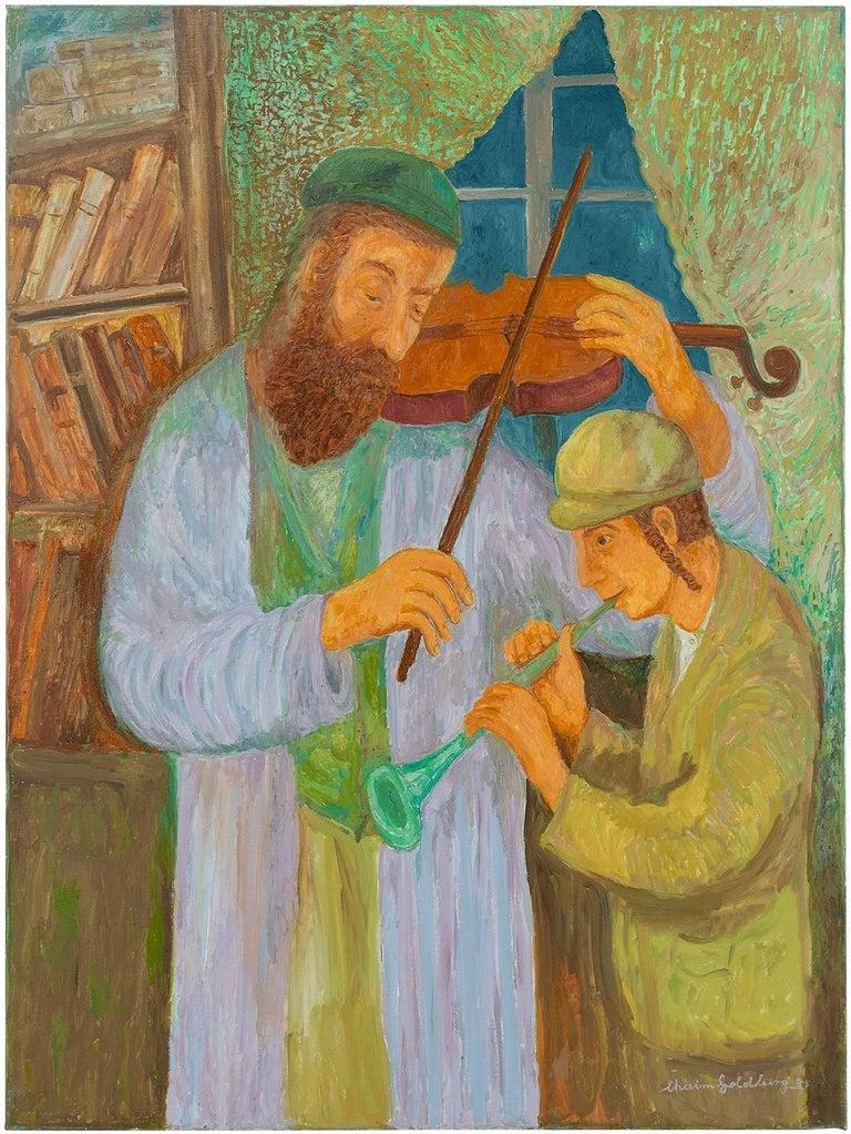 Chaïm Goldberg Figurative Painting - Music Lesson, Judaica Painting, Shtetl Life