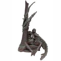 Devotion's Angel 2000. Cast bronze. Nude Angel Sculpture 3 0f 3