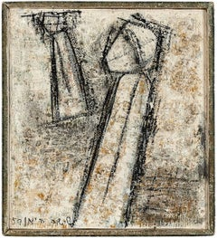 UNTITLED FIGURES (LINES AND SHAPES AGAINST TEXTURAL BACKGROUND)