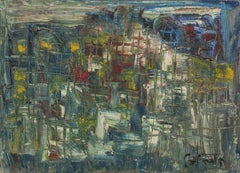 UNTITLED (ABSTRACT BLUE CITYSCAPE)