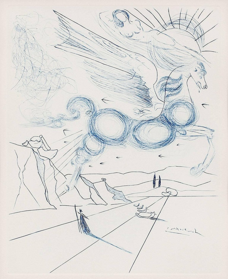 Salvador Dalí Figurative Print - PEGASUS IN FLIGHT WITH ANGEL, Etching