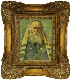 Rare Judaica Portrait of European Hasidic Rabbi, Painting