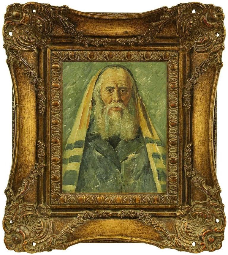 Unknown - Rare Judaica Portrait of European Hasidic Rabbi, Painting 1