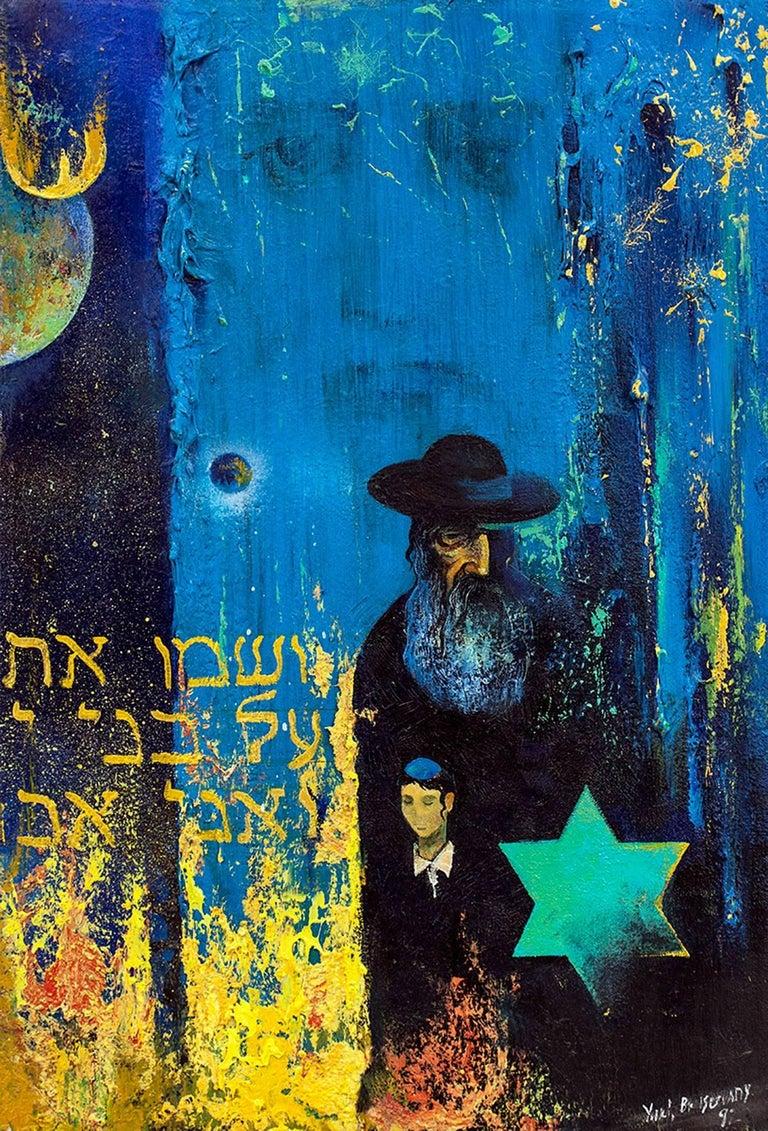 Post Soviet Avant Garde RABBI, EXPRESSIONIST BLUE BACKGROUND, Yellow Star