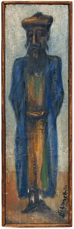 Rare Judaica Oil Painting. Bezalel School, Jerusalem Rabbi