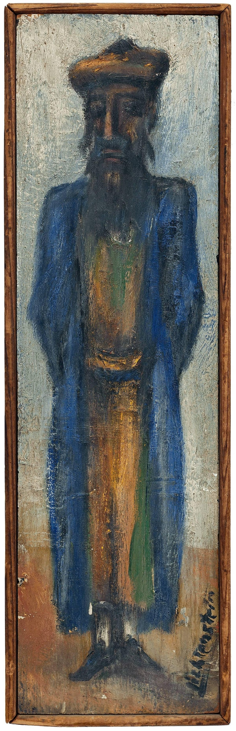 Isaac Lichtenstein - Rare Judaica Oil Painting. Bezalel School, Jerusalem Rabbi 1
