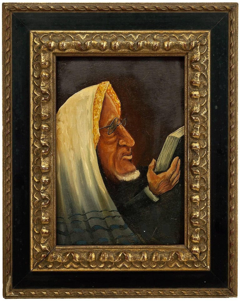 Unknown Figurative Painting - Belgian Modernist Judaica Oil Portrait of a Rabbi