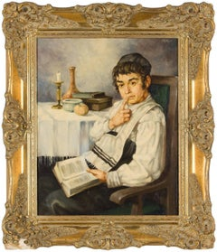 Cheder Boy (Contemplative jewish Boy) Hungarian Judaica Painting