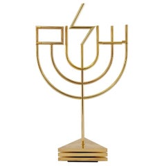 Kinetic Op Art Sculpture Tri Base Shalom Menorah Hebrew Judaica