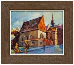 Judaica Oil Painting Altneuschul Maharal Synagogue Prague