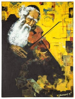 Post Soviet Avant Garde Judaica Rabbi Playing Violin (the Klezmer Fiddler)