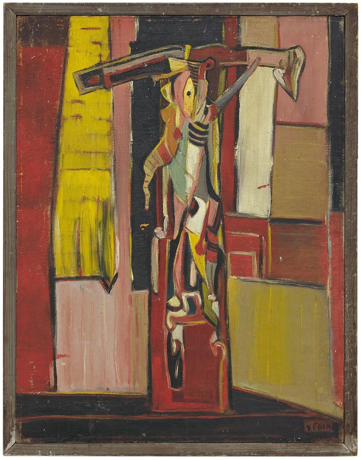 """Important """"The Victim"""" Avant Garde 1947 Judaica Expressionist Oil Painting"""