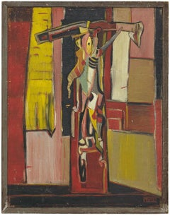 "Important ""The Victim"" Avant Garde 1947 Judaica Expressionist Oil Painting"