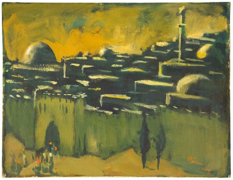THE WALLS OF JERUSALEM German Israeli Modernist Oil Painting