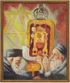 High Holidays Shofar Judaica Oil Painting