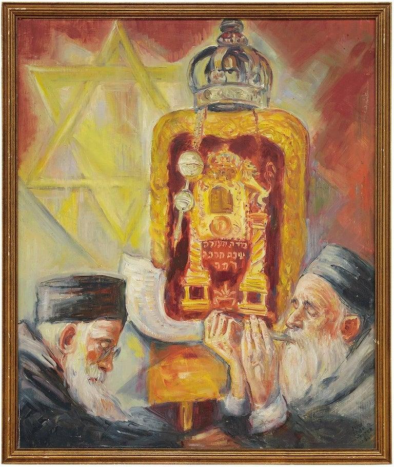Freda Leibovitz Reiter Figurative Painting - High Holidays Shofar Judaica Oil Painting