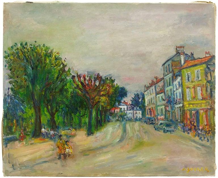 Parisian Street Scene, Oil on Canvas Ecole D'Paris, WPA, Bezalel Artist - Painting by Jacques Zucker