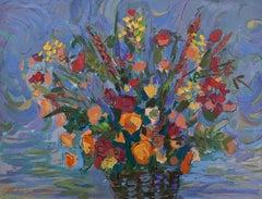 Large Vibrant Oil Painting Colorful Vase of Flowers Israeli Artist Isaac Maimon