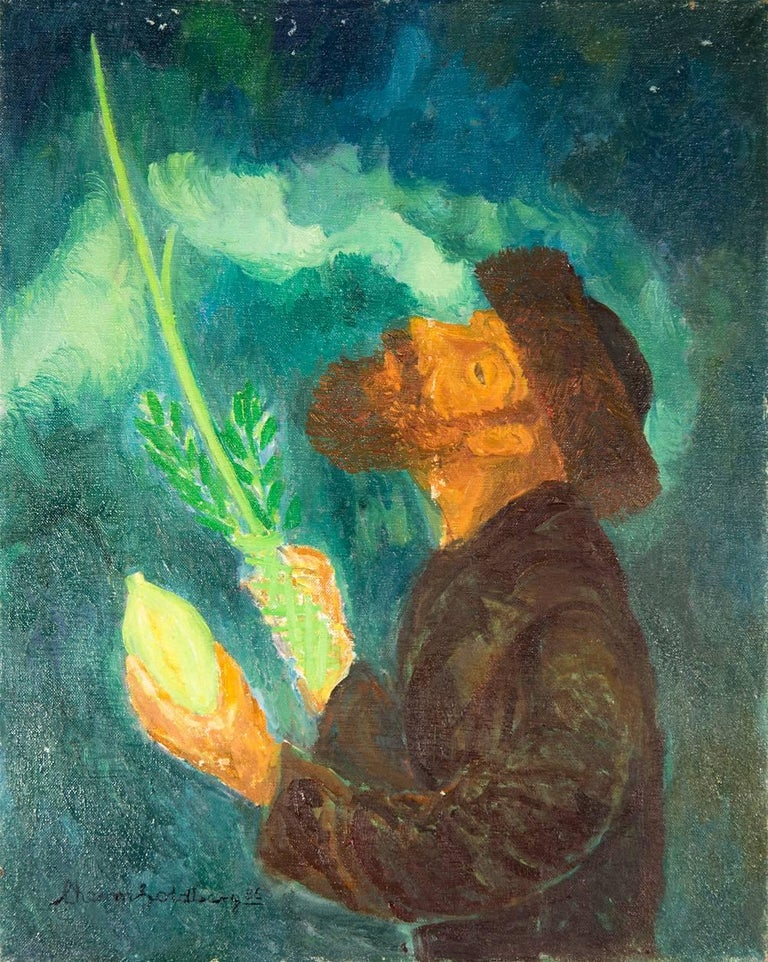 Chaïm Goldberg Figurative Painting - Blessing From Above, Judaica Oil Painting, Rabbi with Lulav and Esrog