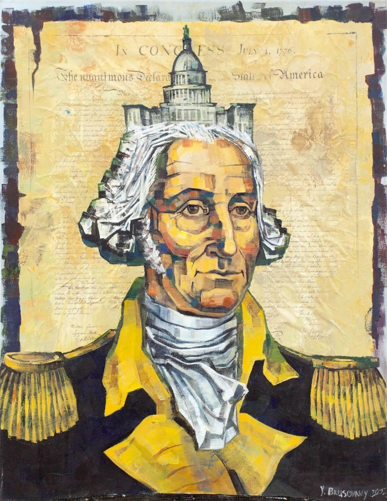 Yuri Brusovany Portrait Painting - Untitled (George Washington, The Capitol and The Constitution)
