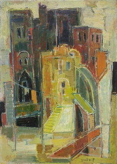 Rome (Milan) Italian Cityscape by Noted Hungarian Israeli Artist
