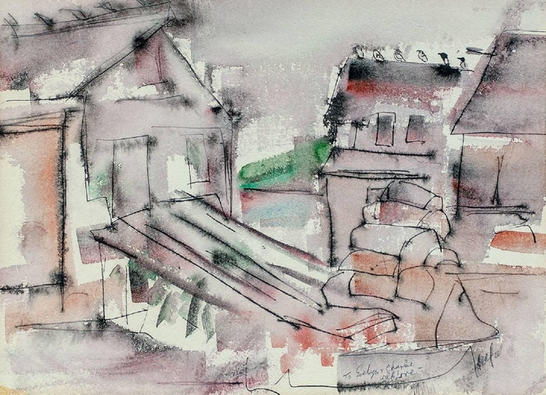 Riva Helfond Abstract Drawing - WPA Woman Artist Modernist Abstract Watercolor of Houses