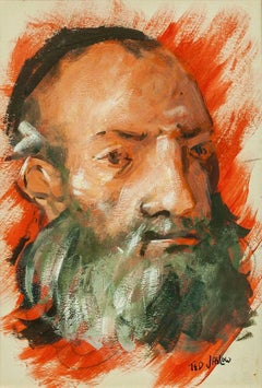 Bold Expressionist Rabbi, Judaica painting