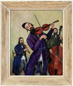 Folk Art Naive Judaica Klezmer Hasidic Musicians