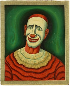 Clown,  Early 20th Century Playful Oil Painting on Board