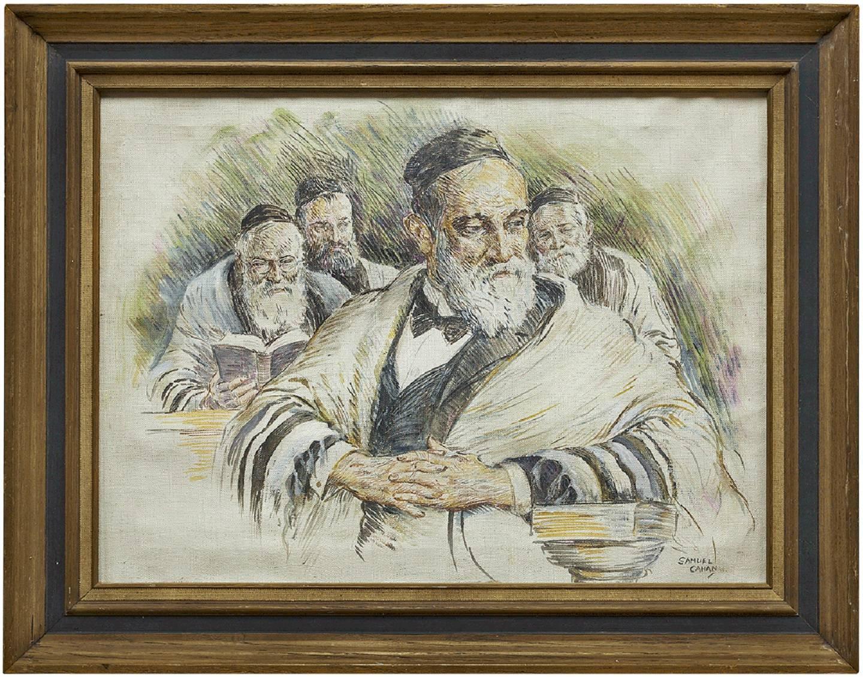 Vintage Illustration Judaica Painting, The Rabbi's (Men at Prayers)