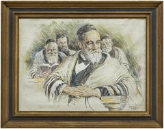 Vintage Illustration Judaica Painting, The Rabbi's (Men at Prayers)
