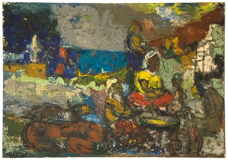 Abraham Cohen Figurative Painting - Resting at Evening, Israeli Modernist Painting