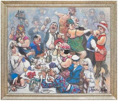 Fat Lady Sings Giclee Painting Print on Canvas Rowdy Tavern Bar Scene