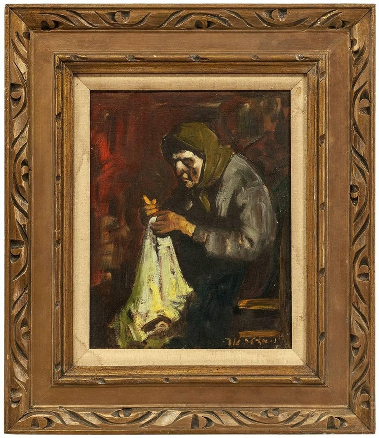 Adolf Adler Figurative Painting - Bubbe Embroidering, Expressionist Oil Painting